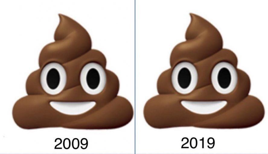 The same image of a poop emoji is shown side by side. 2009 is written under one and 2019 under the other.