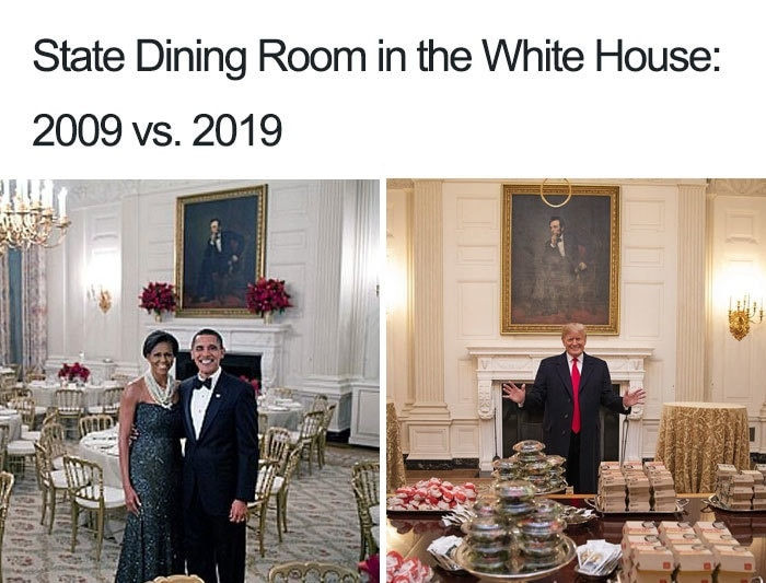 Captioned 'State Dining Room in the White House: 2009 vs. 2019', the image shows two pictures. The one on the left is of a dressed-up black couple. The one on the right is of a blond man in a suit standing behind a table filled with junk food.