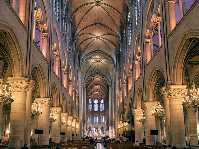 The interior of the Notre Dame cathedral before the fire.