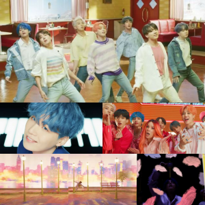 [image description: a grid of six scenes from the Boy in Luv video. Top: BTS dancing in an empty cafe. Second row, left to right: Suga with blue hair smiles at the camera in a close up; the boys with Halsey look at the camera with stunned expressions. Bottom row, left to right: JHope twirls around a lamppost against a pink background; a close up of V against a black background]via YouTube/ibighit.