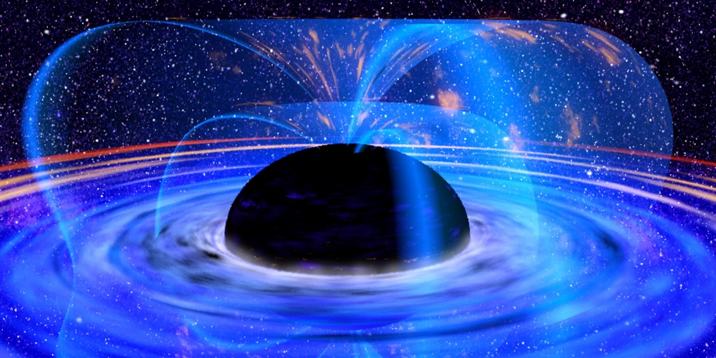 The image shows an illustration of the expansion of the universe and the decay of all matter within, specifically, a supposedly insurmountable black hole.