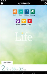 Screenshot of the app my sober life that consists of seven options against a green and blue background with the number of hours sober at the bottom.