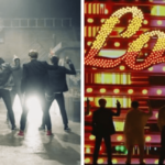 A grid of two images. Left: seven members of the boyband BTS with their back to the camera holding up their hands in a 'gun' sign. The background is black. Right: BTS members with their back to the camera making the same gesture. The background is red with stage lights. Atop them a sign reads LOVE.