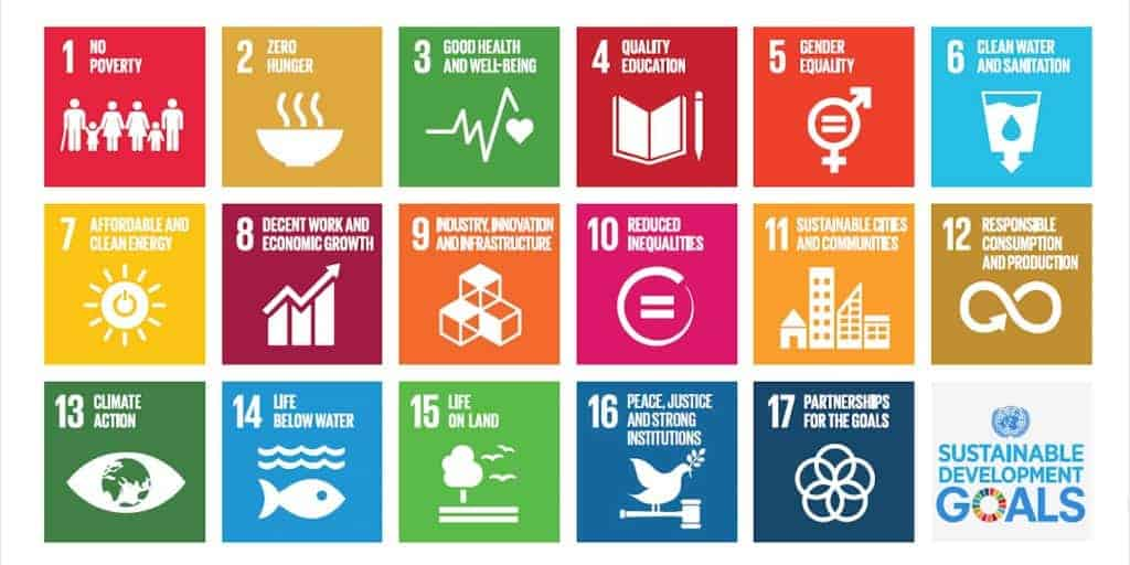 A spread of colorful icons listing out the 17 sustainable development goals.