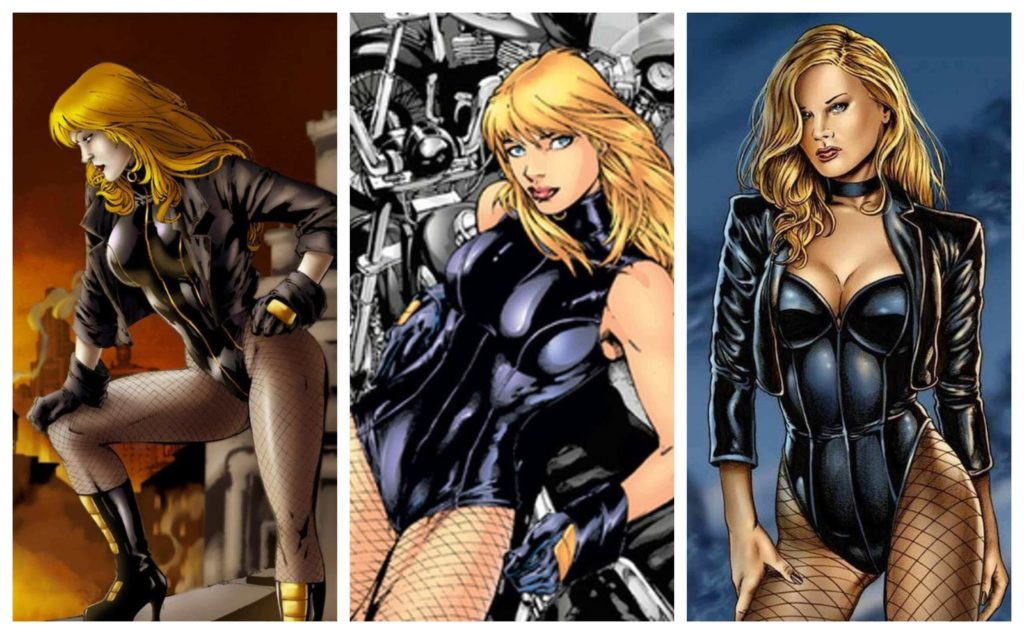 image description: three images of Black Canary in latex costumes