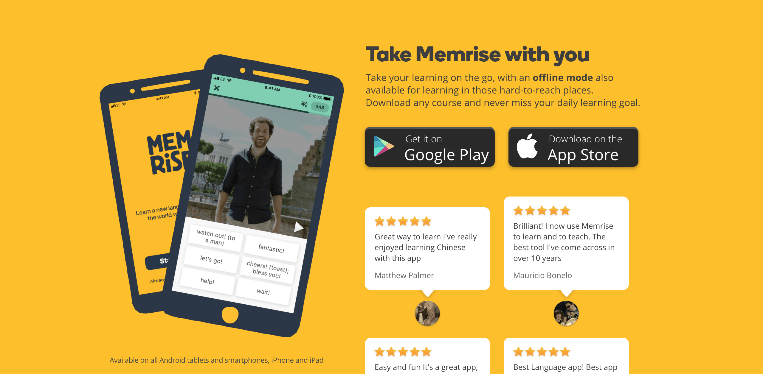 Two phones against a yellow background with information about the Memrise app written in black.