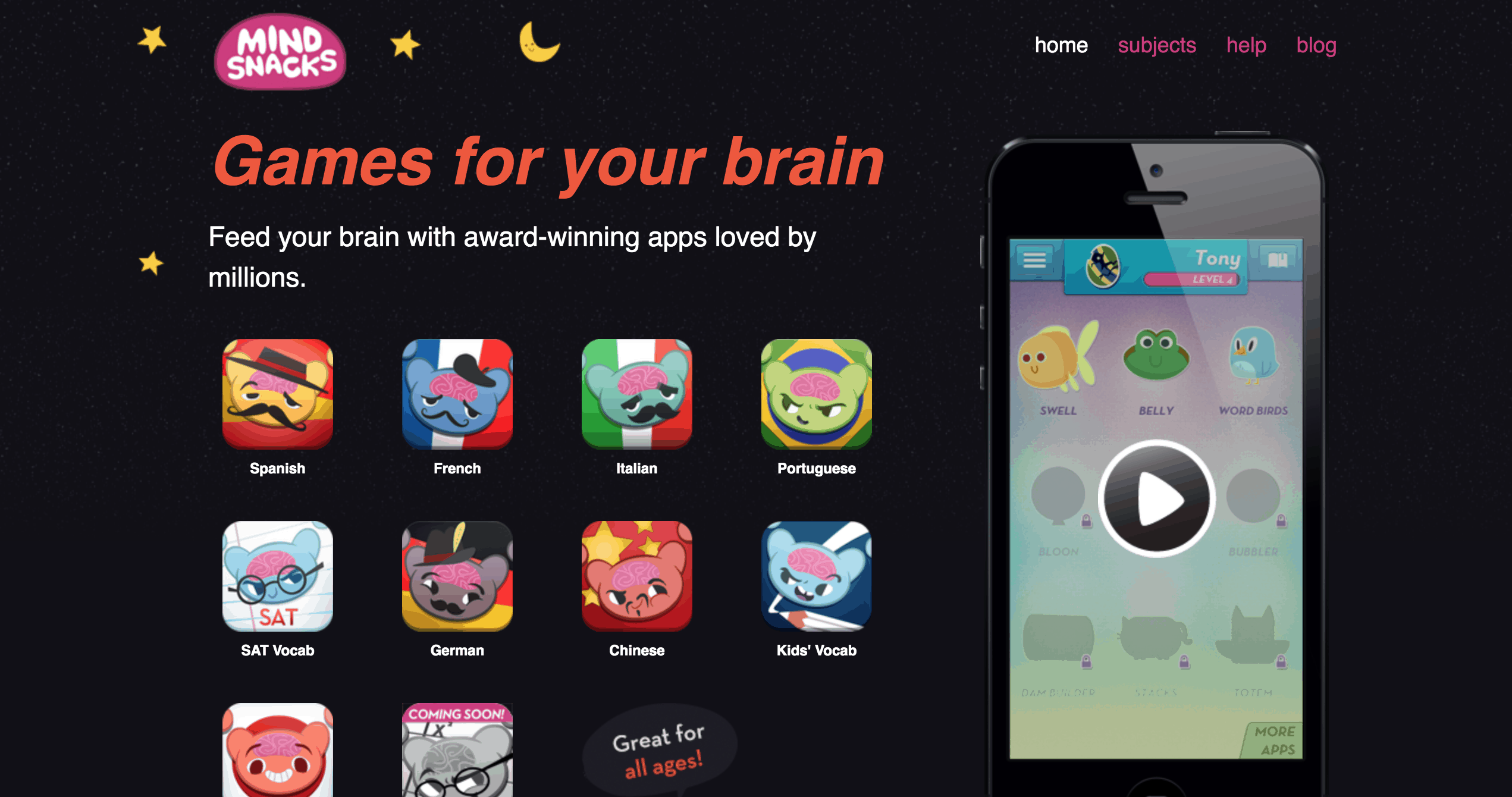 A black background with a black iPhone showing the app MindSnacks along with various colorful icons to the left of the iPhone.