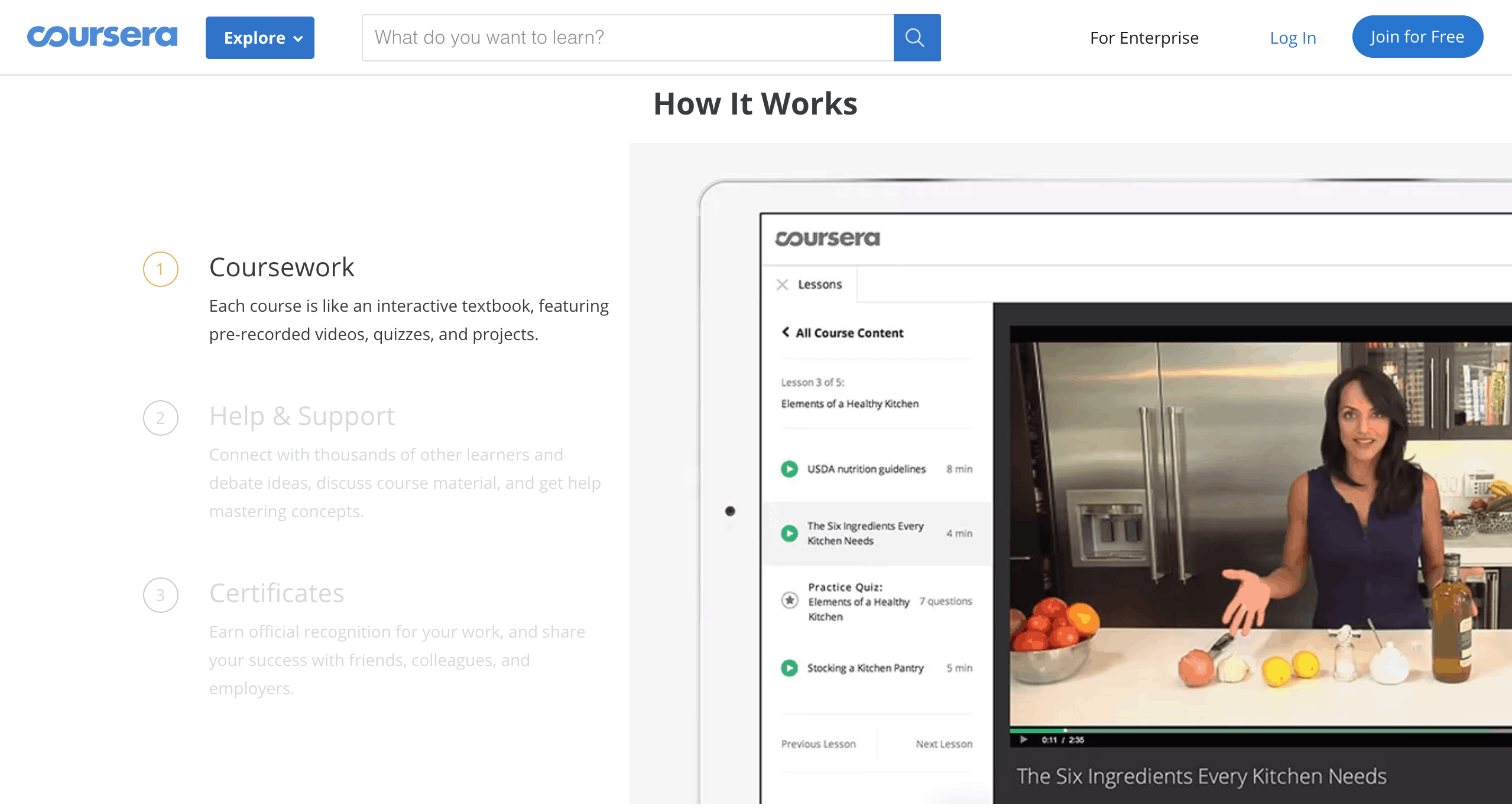 Screenshot of the Coursera website with information written in black against a white background to the right there's a picture of a white iPad with the preview of the app.