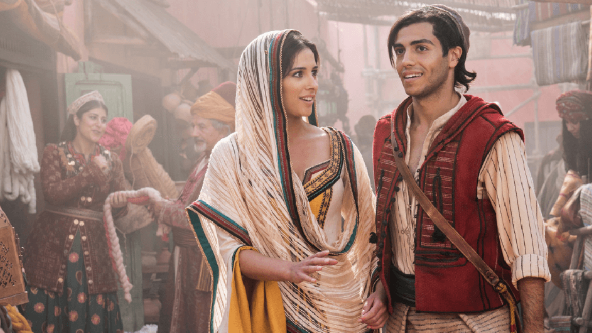 "Aladdin and Jasmine from the 2019 live action of ""Aladdin""."