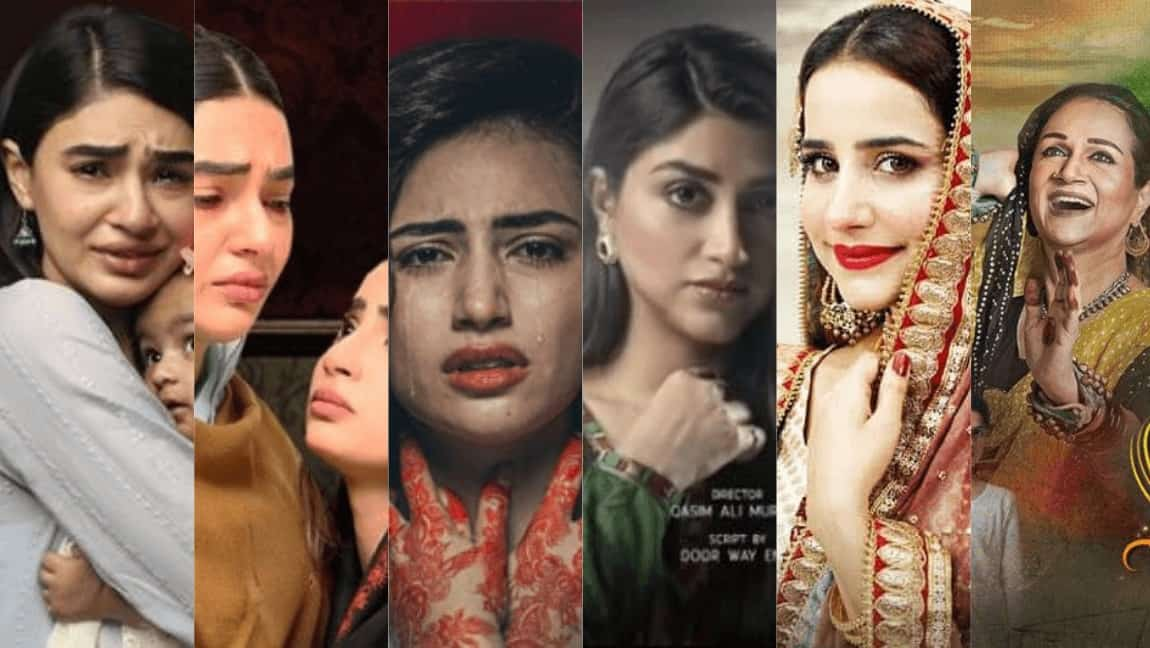 A collage of six stills from different Pakistani dramas depicting various characters.
