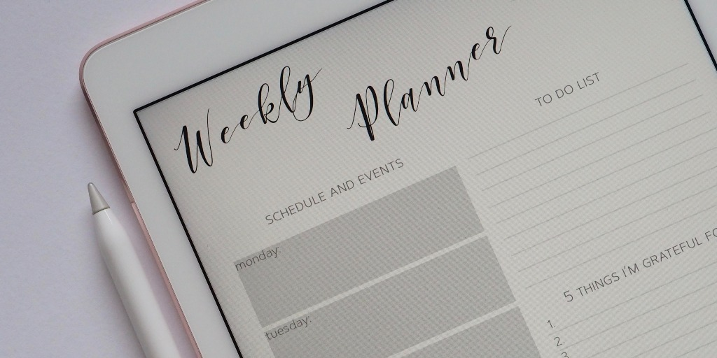 A weekly planner on an iPad.