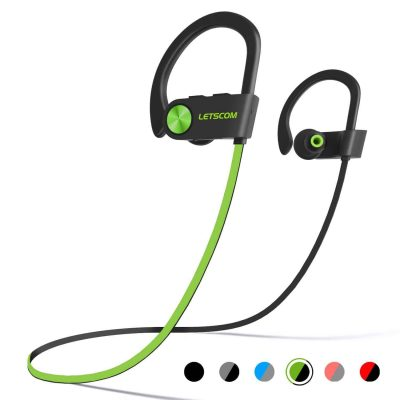 A pair of green-and-black earphones where the buds are connected with a short amount of wire.