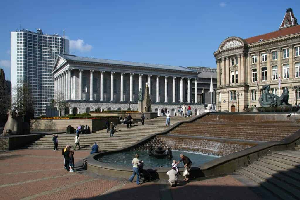 Birmingham Town Hall (a Pantheon style building), The Council House (a classical style building) and steps, water features, statutes and memorials
