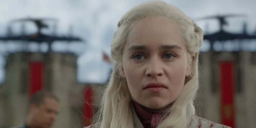 Emilia Clarke as Daenerys Targaryen in Game of Thrones Season 8. She looks angry and vengeful.