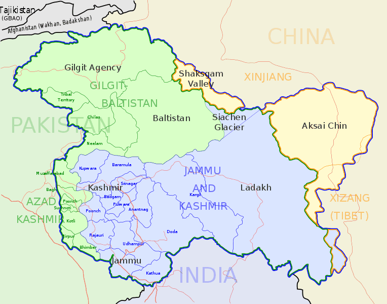 A map of the Kashmiri region, highlighted with a blue line. The Pakistani-Administered region is in green, the India-Administered region is blue and the Chinese claims are in yellow