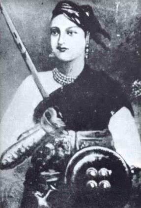 A portrait of Rani of Jhansi - an Indian woman wearing a pearl necklace, cavalrywoman's uniform and carrying a shield and sword