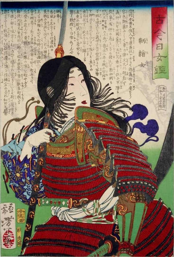 A painting of Tomoe Gozen - a Japanese woman with long black hair and wearing red samurai armour