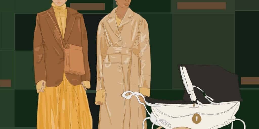 [Image description: Two women looking down at a pram] Design Credit to Deema Alawa / Property of The Tempest, Inc.