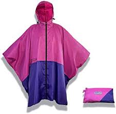 Reusable pink and blue rain poncho with a compact pouch