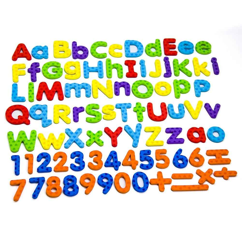 A colorful set of alphabet and number magnets.