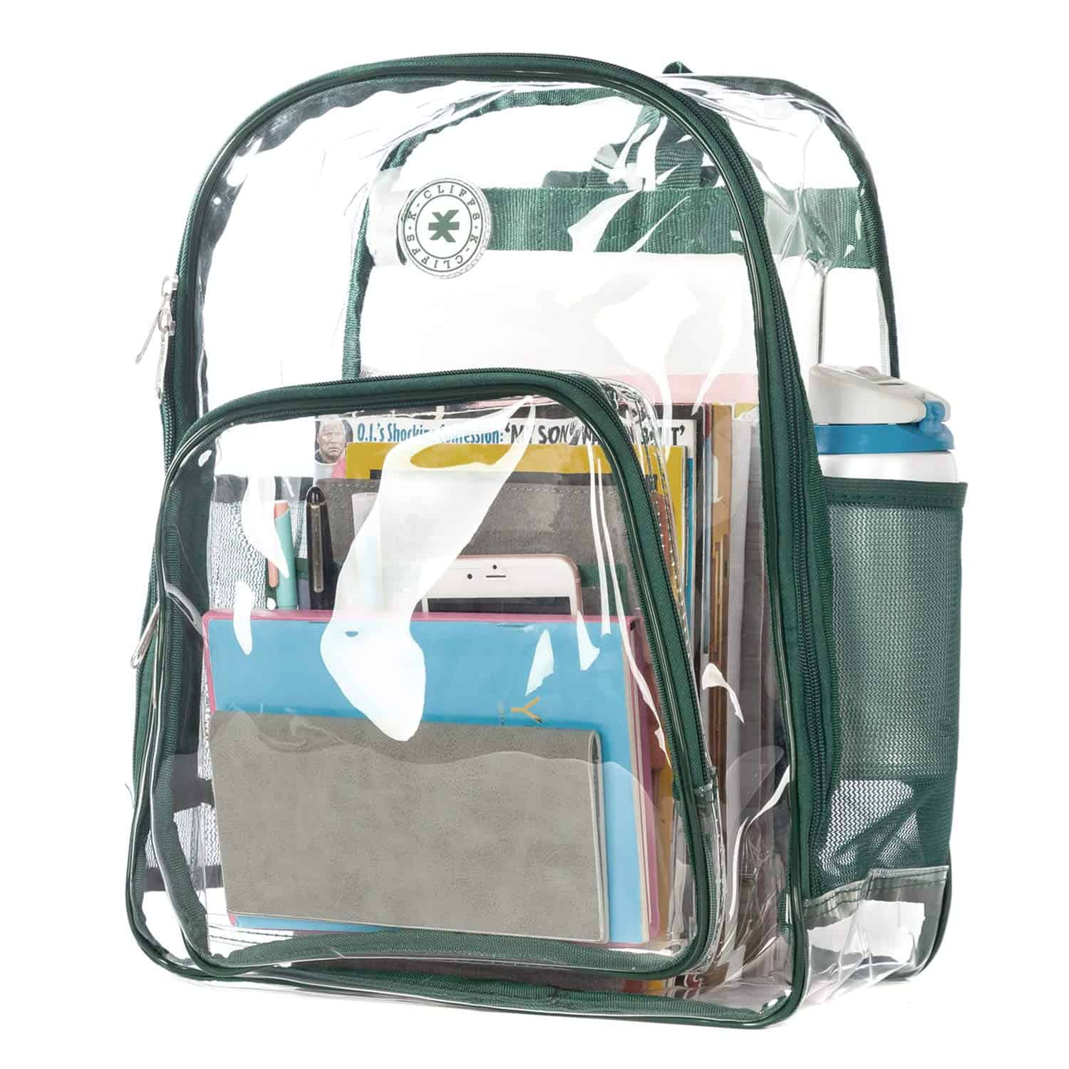 [Image description: Clear backpack filled with books.] via Amazon