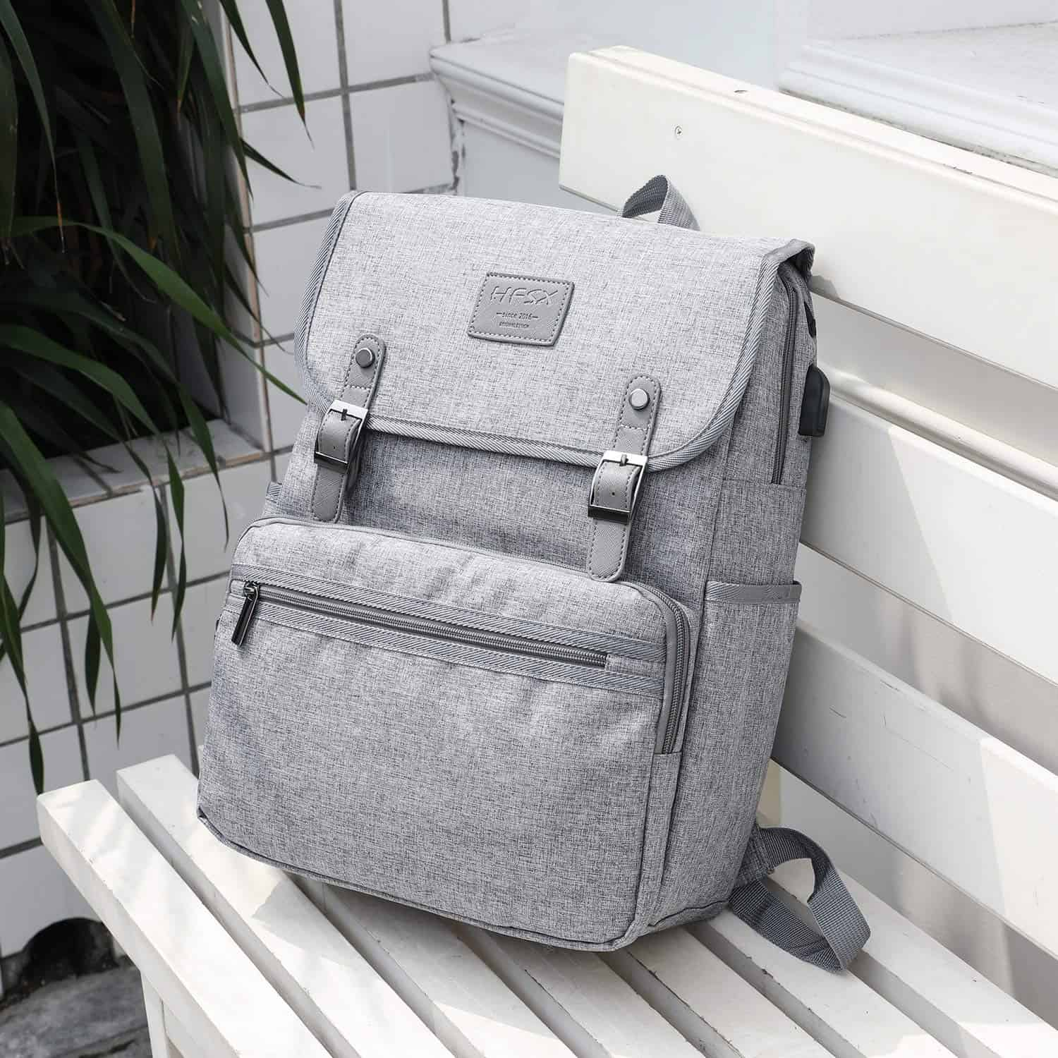 [Image description: Gray backpack with charging port.] via Amazon