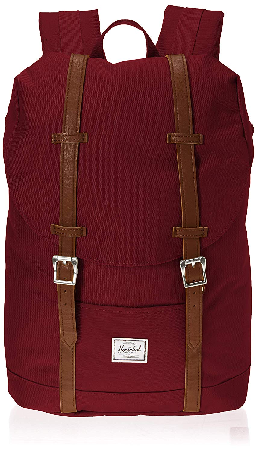 [Image description: Wine red crosshatch backpack has two brown straps holding it together.] via Amazon