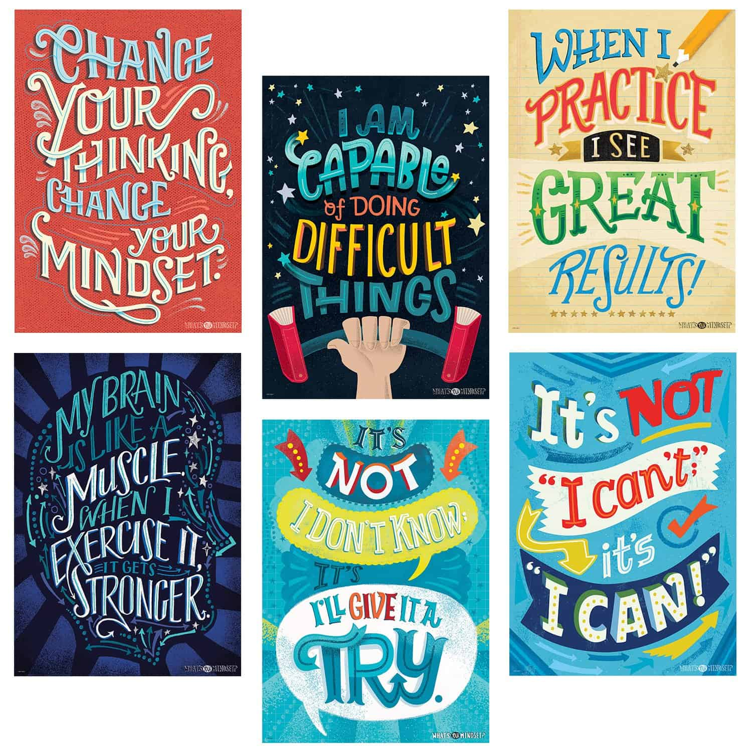 A set of six motivational posters.