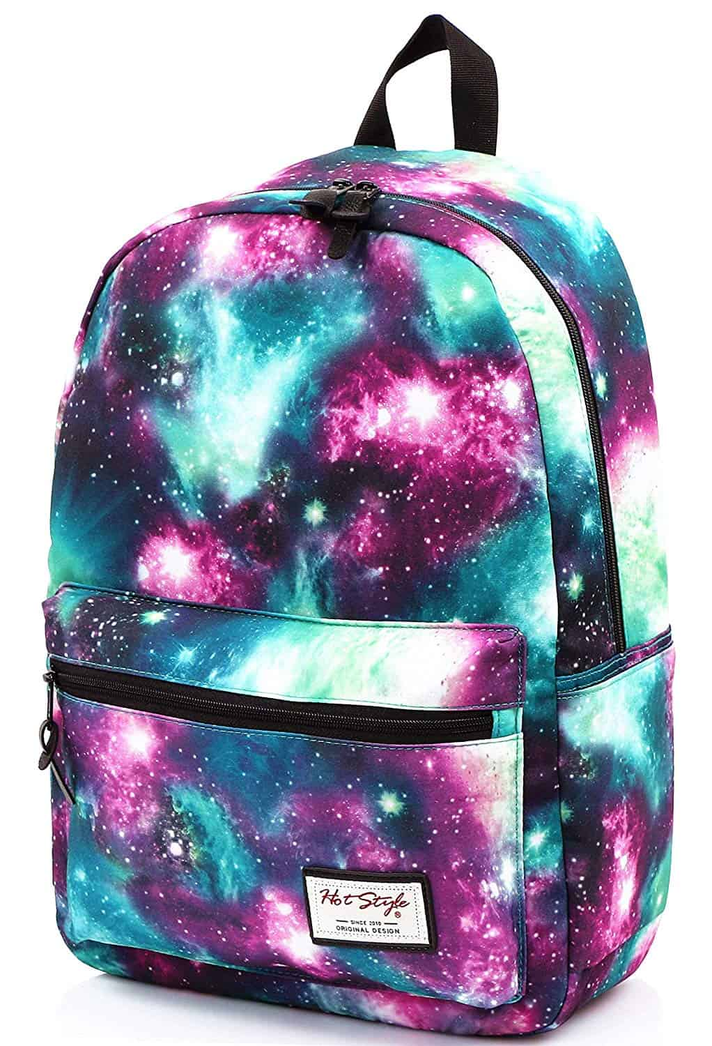 [Image description: Standard backpack with galaxy pattern across the bag.] via Amazon.