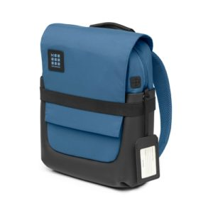 [Image description: ID Small Backpack in boreal blue against a white background.] Via Moleskin.