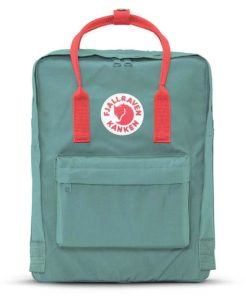 Kanken backpack in frost green and peach pink against white background. Via Fjallraven.