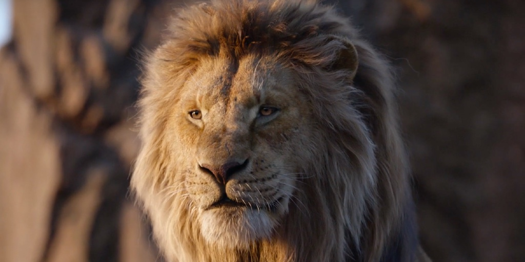A CGI rendering of Simba's face from The Lion King. He is an adult male lion with a thick, blond mane.