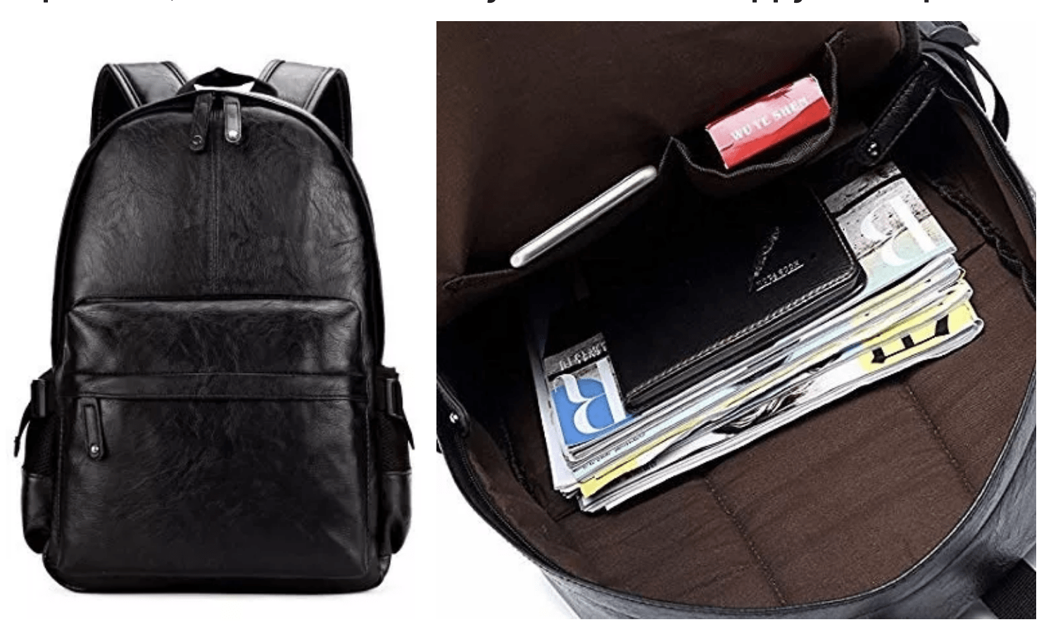 [Image description: Faux black leather backpack both closed and open, revealing contents, against a white background.] Via Amazon.