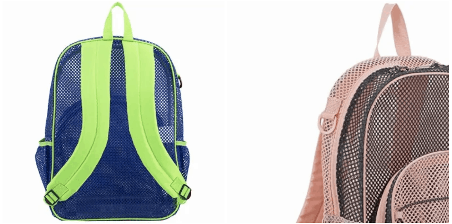 [Image description: Mesh bungee backpack with padded straps.] via Amazon.