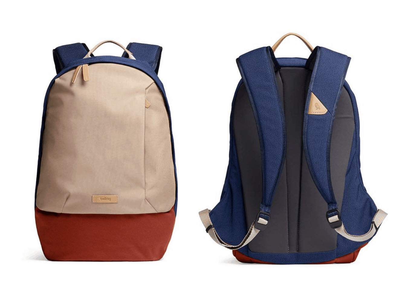 [Image description: Front and back view of red, desert sand, and blue backpack.] via Amazon.