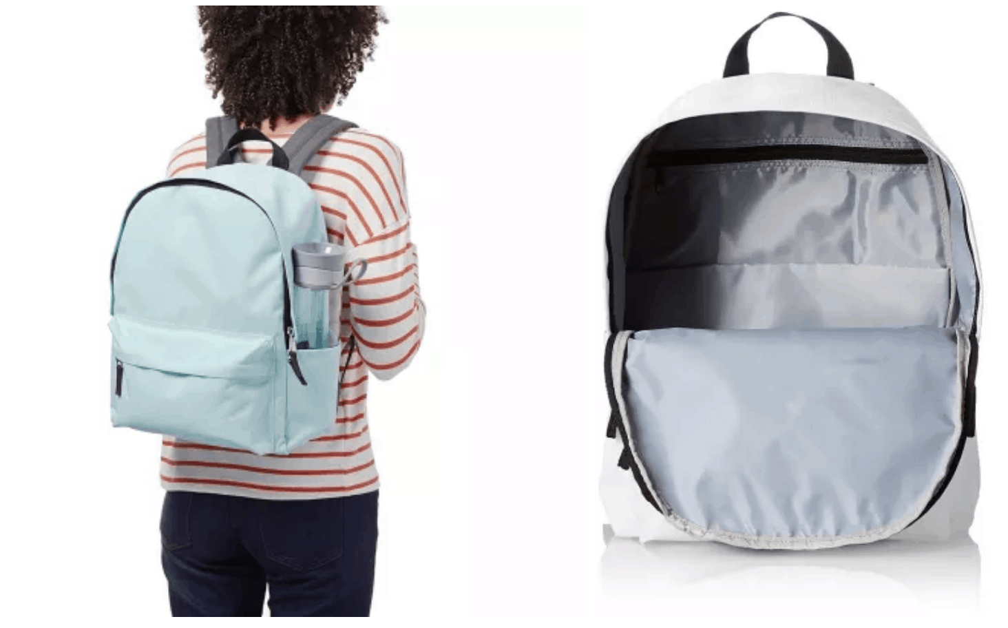 [Image description: Back of woman, holding backpack on shoulders, and a view of the inside of backpack.] via Amazon