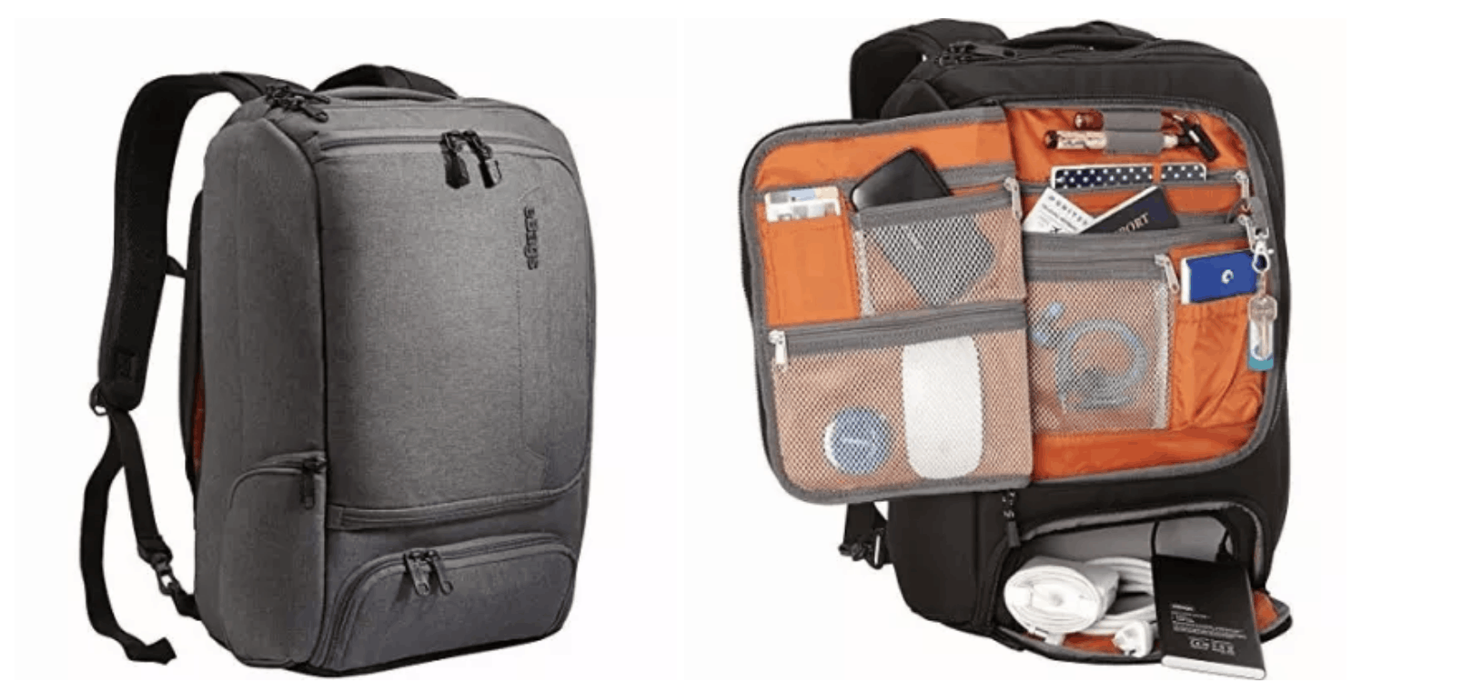 [Image description: Utilitarian backpack with multiple compartments and pockets.] via Amazon.