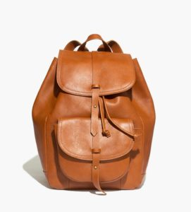 Transport Rucksack in English Saddle against white background. Via Madewell.