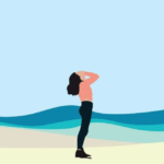An illustration of a standing brown woman on a beach. She is black-haired and is holding her head and looking up. She's dressed in black pants and a long-sleeved coral pink shirt. Behind her are blue waves.