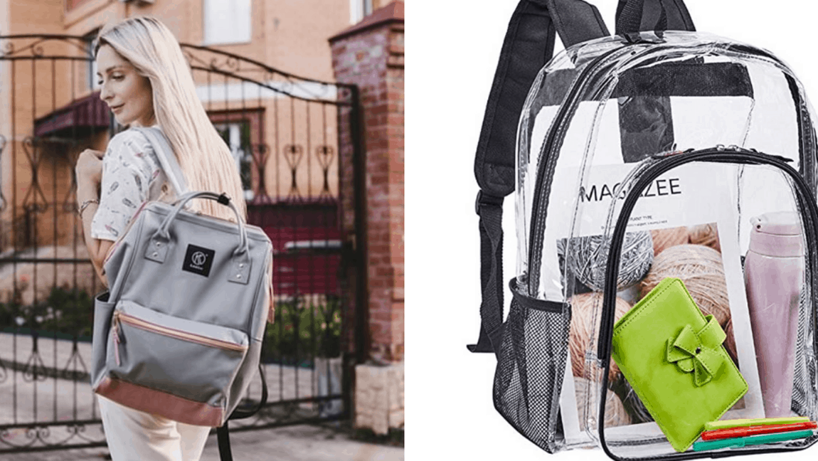 [Image description: Backpacks held side by side.] via Amazon