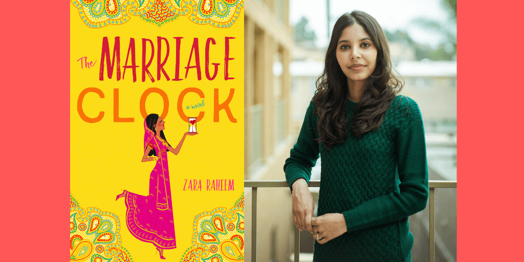 "A book cover of an Indian woman in a pink sari with the words ""The Marriage Clock"" written above her is side by side with the picture of the author, an Indian woman with brown hair wearing a green sweater."