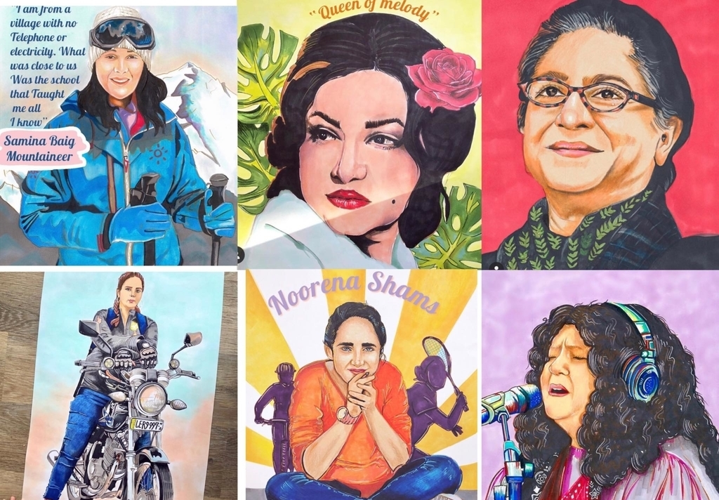 "A collage of six illustrations of Pakistani women featured in ""Pakistan for Women"", showing Samina Baig, Noor Jehan, Asma Jahangir, Zenith Irfan, Noreena Shams, and Abidah Parveen."