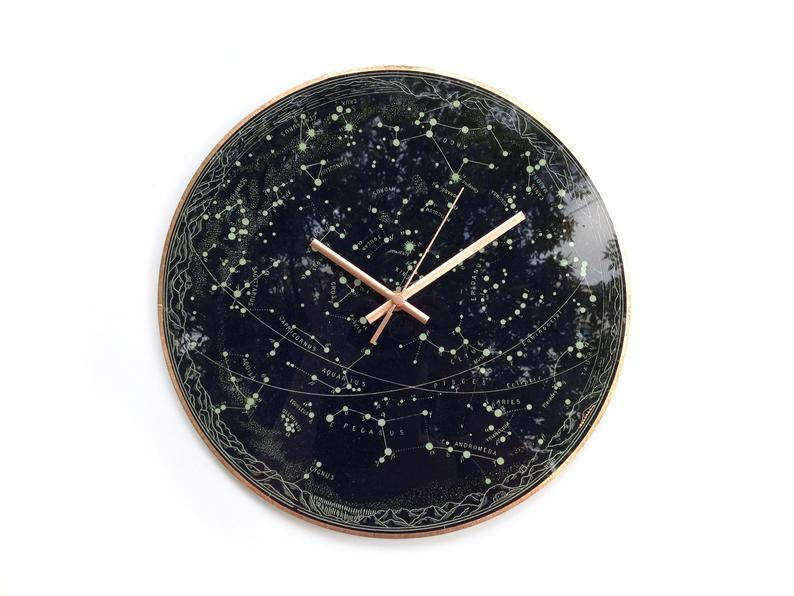 A circular clock whose surface is made to look like the night sky with all the constellations illuminated and labeled.