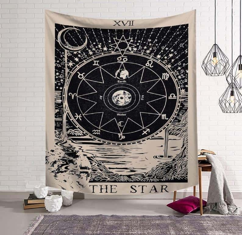 "A wall tapestry that depicts the signs of the zodiac in a detailed illustration and has the words ""The Star"" written across the bottom."