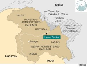 [image description: a map showing Kashmir with Pakistan, India, and China's territorial claims marked] via BBC News.
