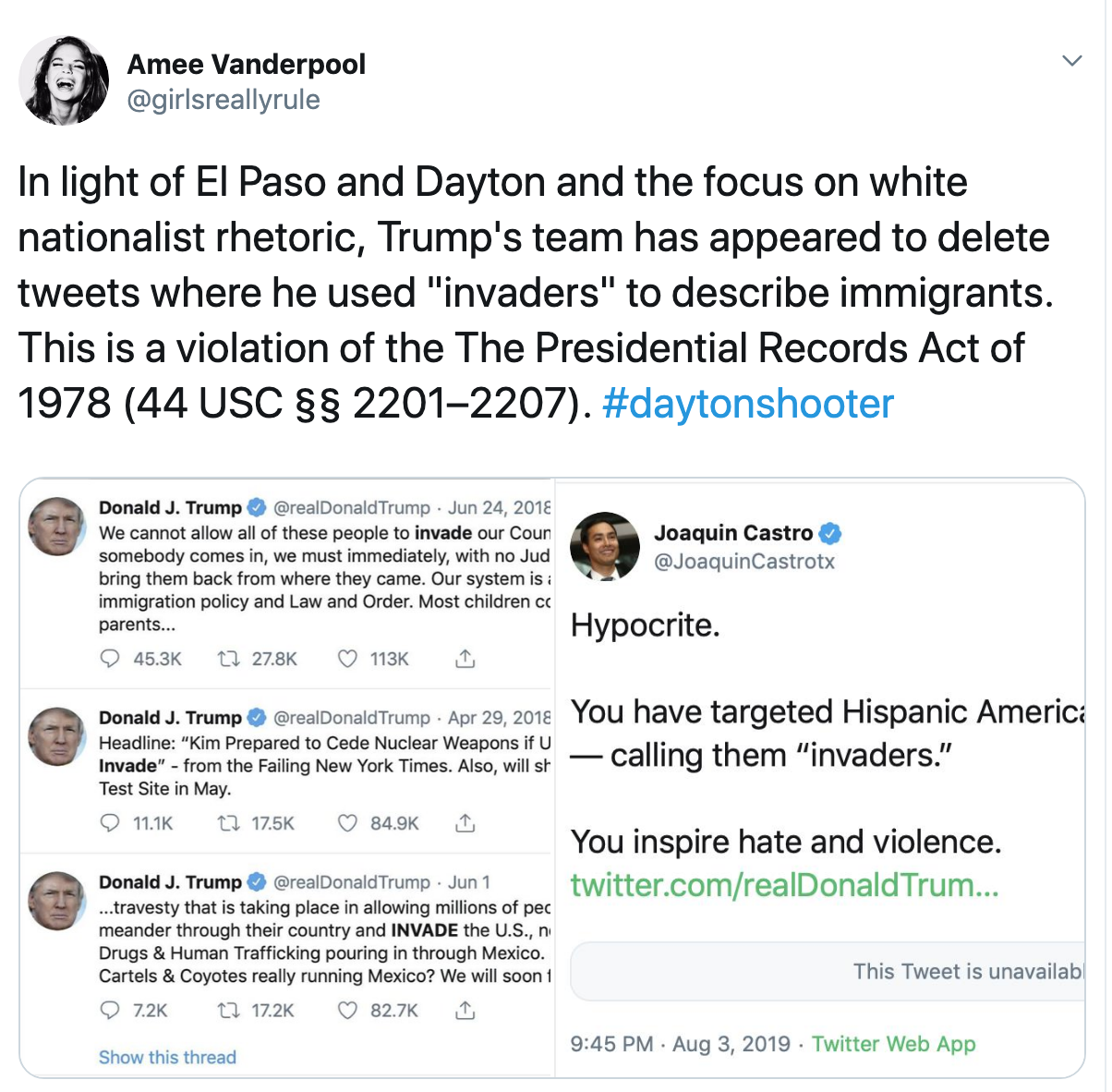 "[Image description: Screenshot of Amee Vanderpool's tweets about deleting post that use the word ""invasion""] via Twitter"
