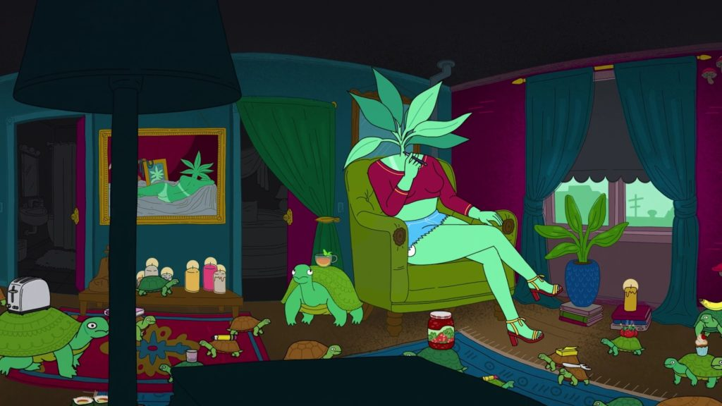Still featuring anthropomorphized houseplant neighbor Draca smoking in her apartment while surrounded by turtles. Via Netflix.