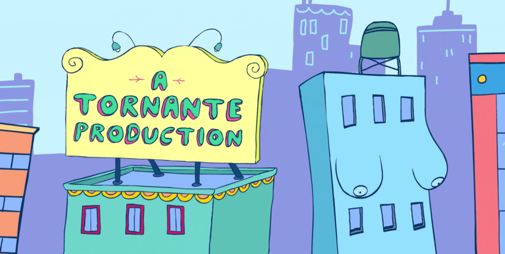 """Still from title sequence featuring anthropomorphized building and building with billboard for """"A Tornante Production"""". Via Netflix."""