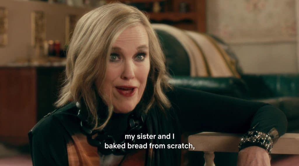 "A white, blonde woman proudly says, ""My sister and I baked bread from scratch."""
