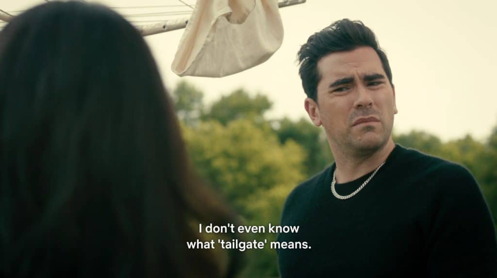 "A dark-haired, brown man confusedly says, ""I don't even know what tailgate means."""